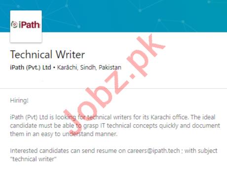 iPath Technologies Karachi Jobs 2020 for Technical Writer