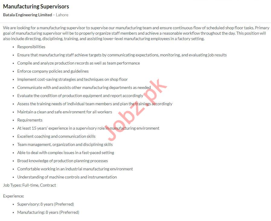 Manufacturing Supervisor Jobs in Batala Engineering Limited