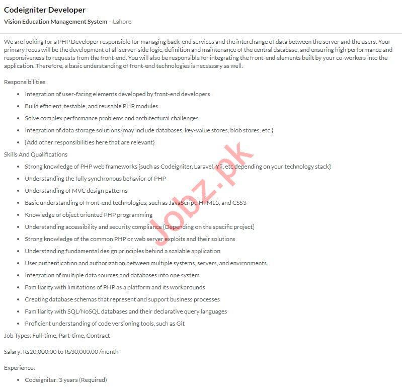Vision Education SystemCodeigniter Developer Jobs 2020