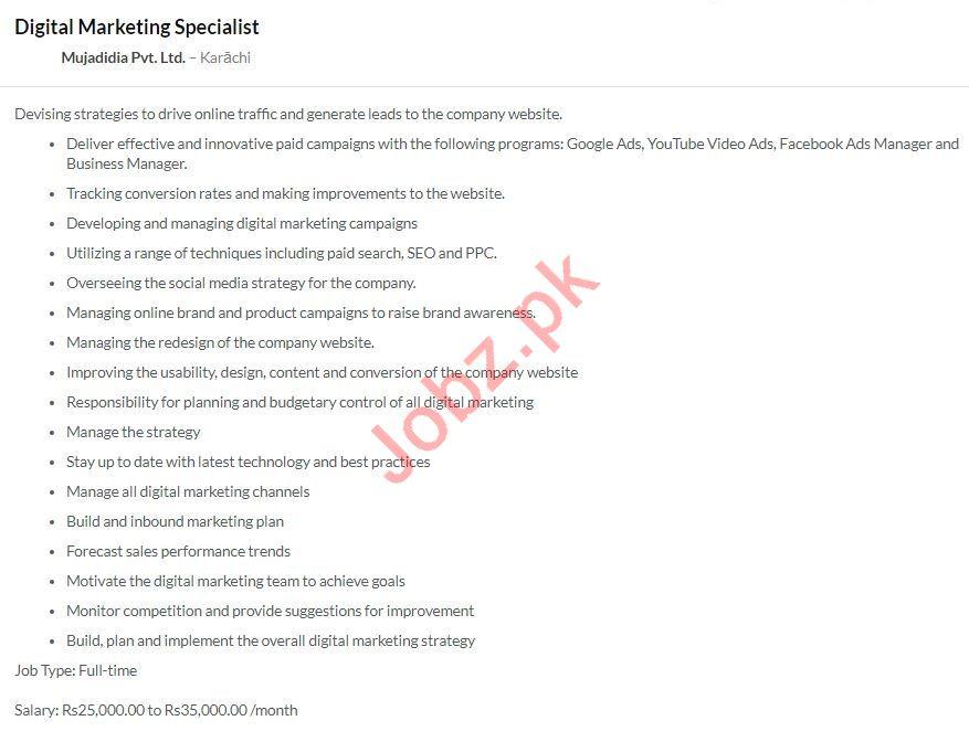 Digital Marketing Specialist Jobs in Mujadidia Private Ltd