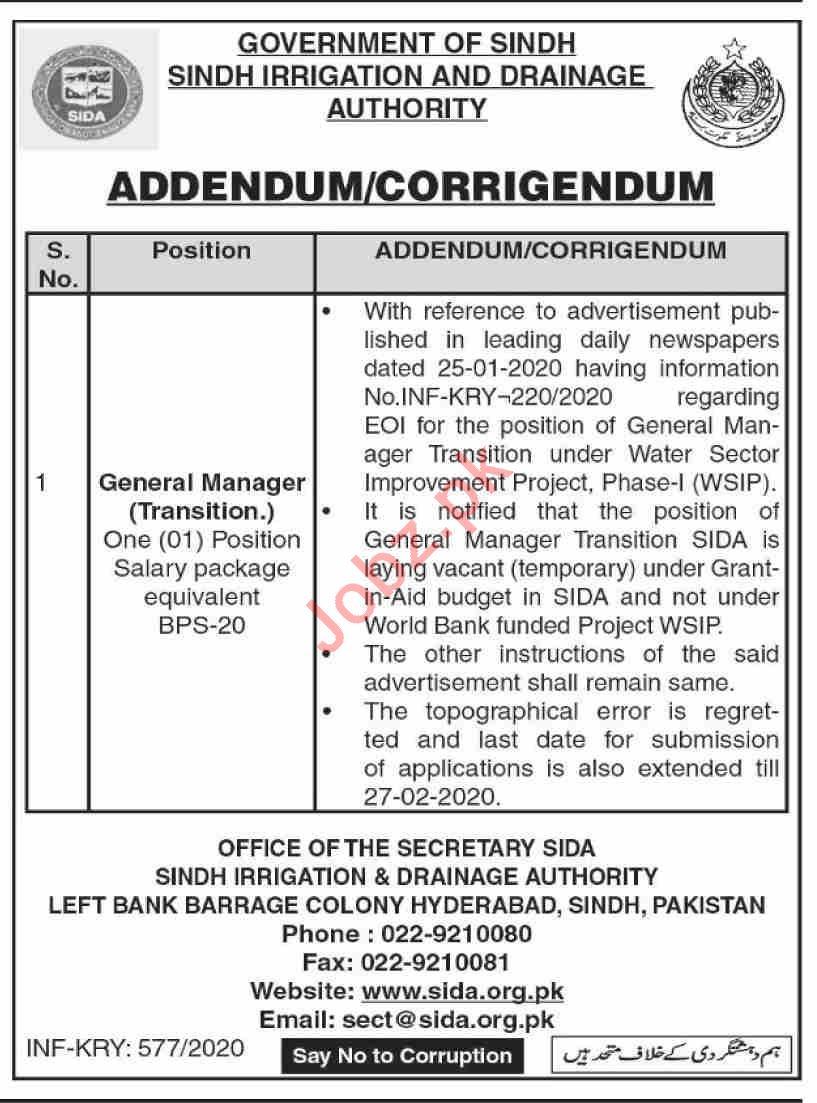 Sindh Irrigation & Drainage Authority SIDA Jobs 2020