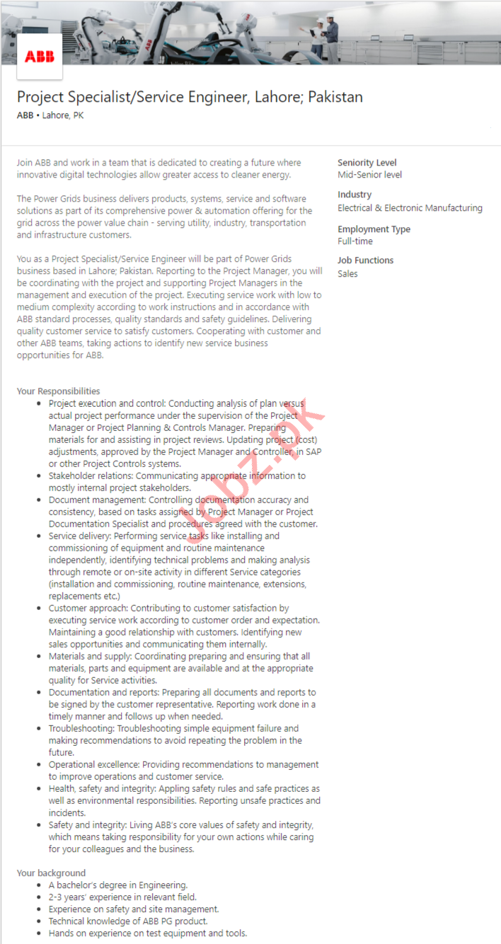ABB Group Pakistan Jobs 2020 for Project Specialist