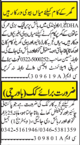 House Staff Jobs 2020 in Islamabad