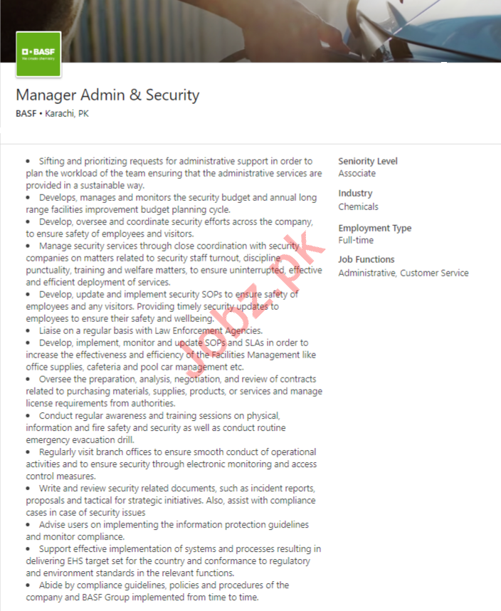 BASF Pakistan Jobs 2020 for Manager Admin & Security