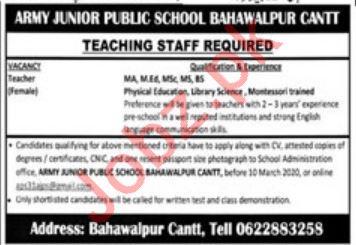 Army Junior Public School Jobs 2020 For Teaching Staff