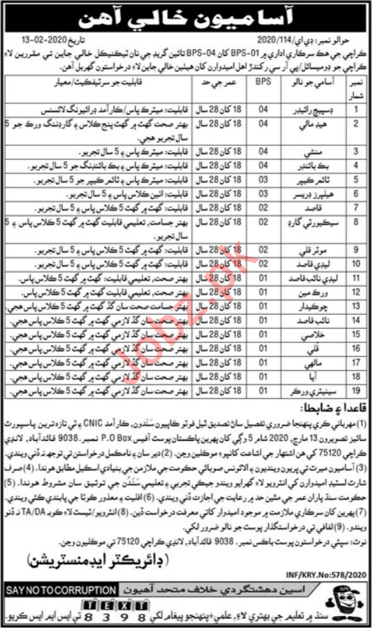 Public Sector Organization Jobs 2020 in Karachi
