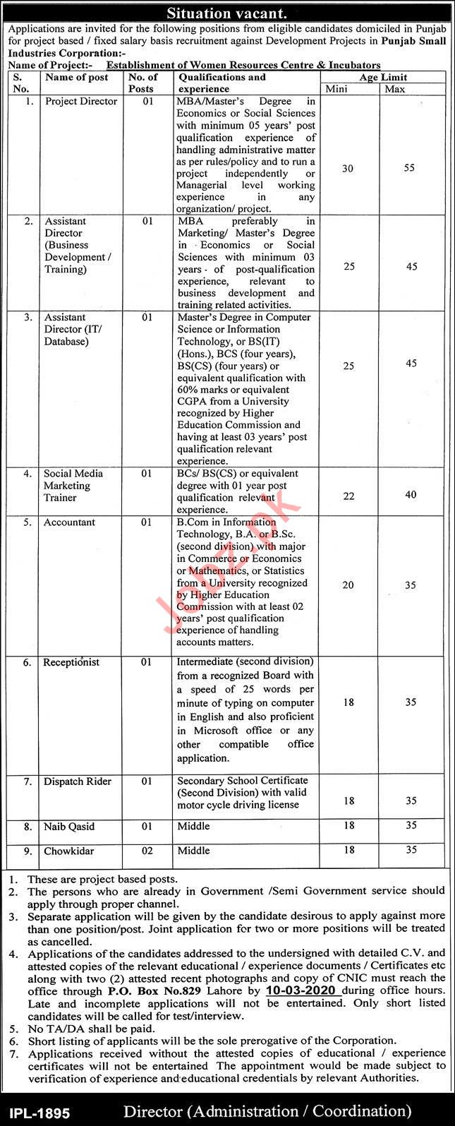 Punjab Small Industries Corporation Jobs 2020 For Lahore