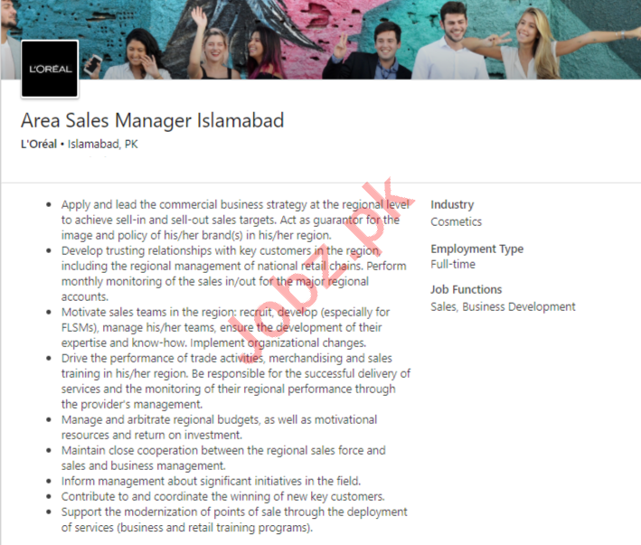 LOreal Islamabad Jobs 2020 Area Sales Manager
