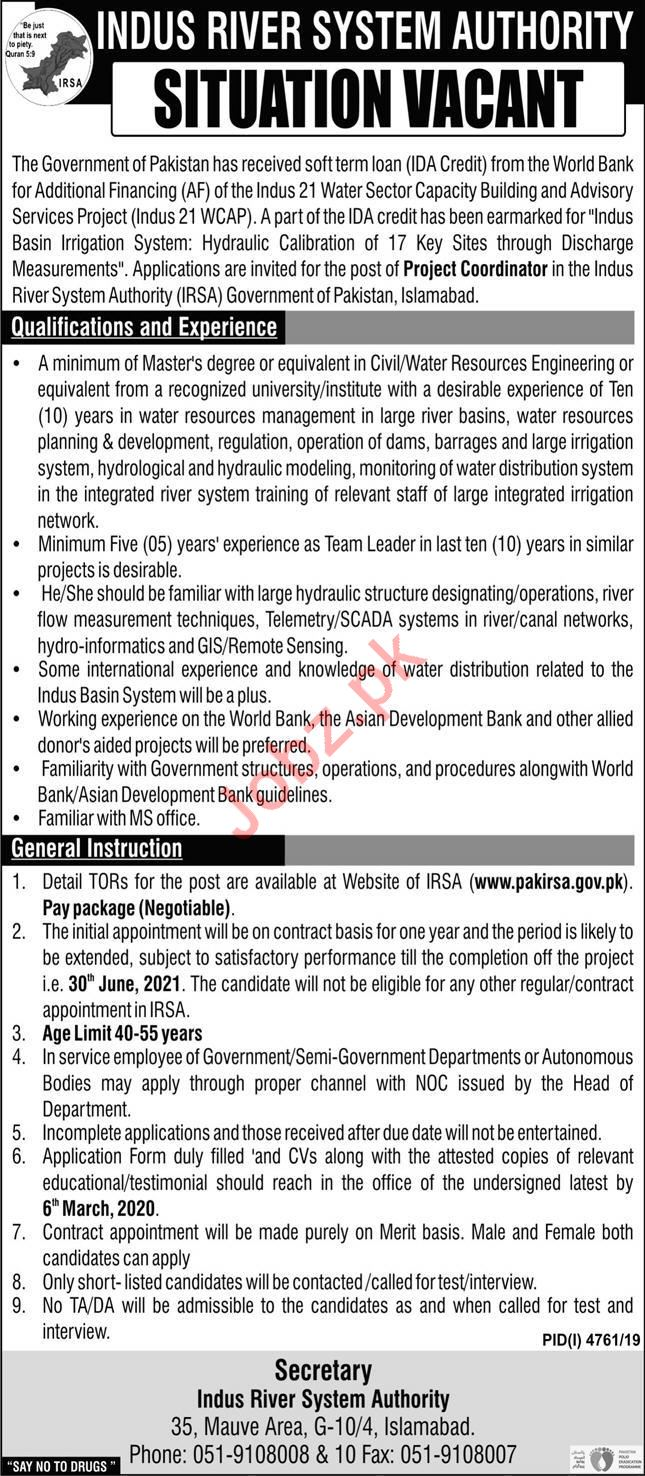 Indus Rivers System Authority Job For Project Coordinator