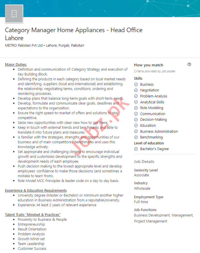 METRO Pakistan Jobs 2020 for Category Manager
