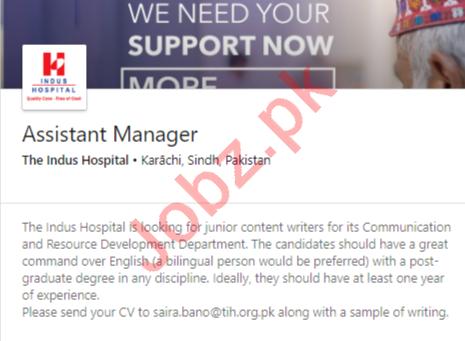 The Indus Hospital Karachi Jobs 2020 for Asst Manager