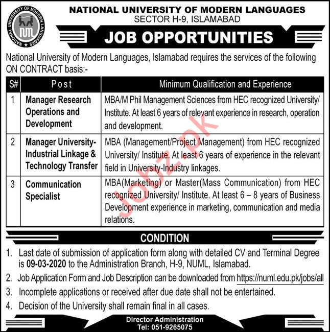 NUML Jobs 2020 For Management Staff in Islamabad
