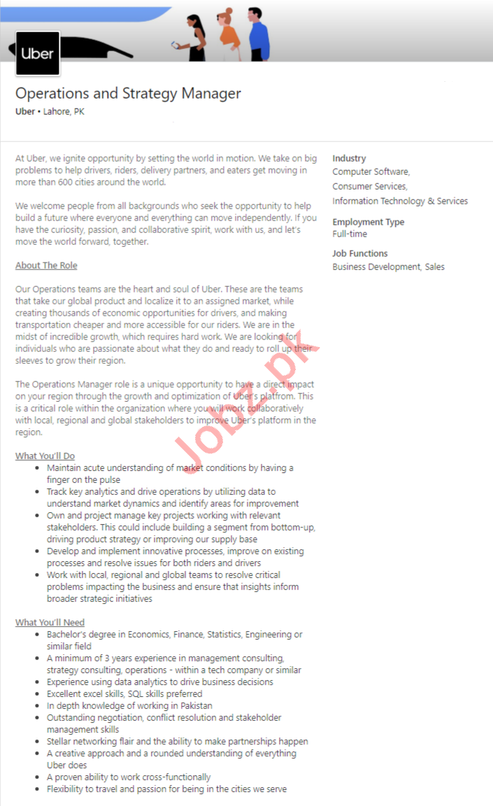Uber Lahore Jobs 2020 for Operations & Strategy Manager