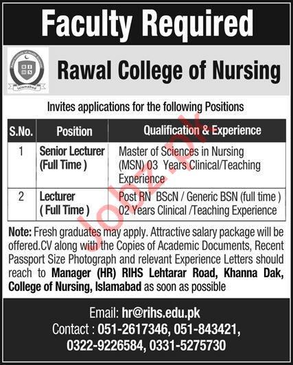 Rawal College of Nursing Jobs 2020 in Islamabad