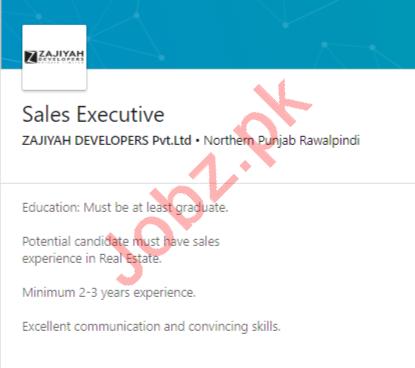 Zajiyah Developers Rawalpindi Jobs 2020 for Sales Executive