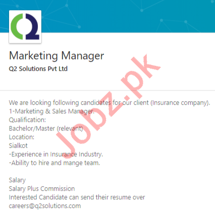 Q2 Solutions Islamabad Jobs 2020 for Marketing Manager