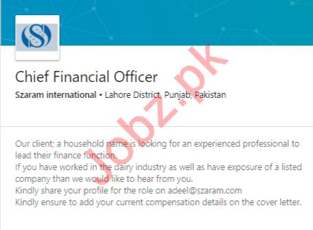Szaram International Jobs 2020 for Chief Financial Officer