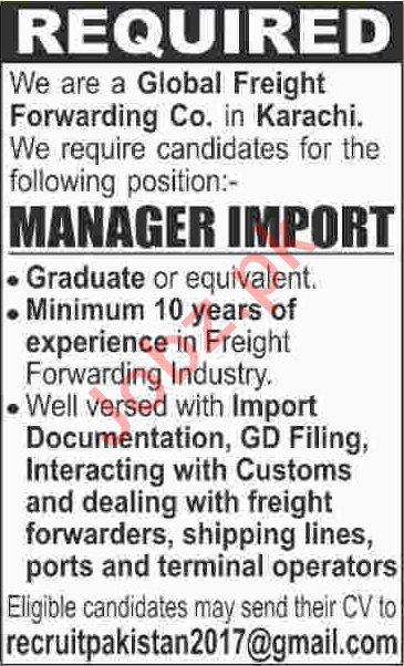 Global Freight Forwarding Company Jobs 2020 in Karachi