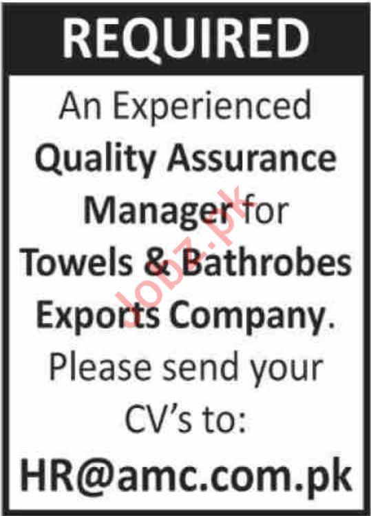 Towels & Bathrobes Exports Company Jobs 2020