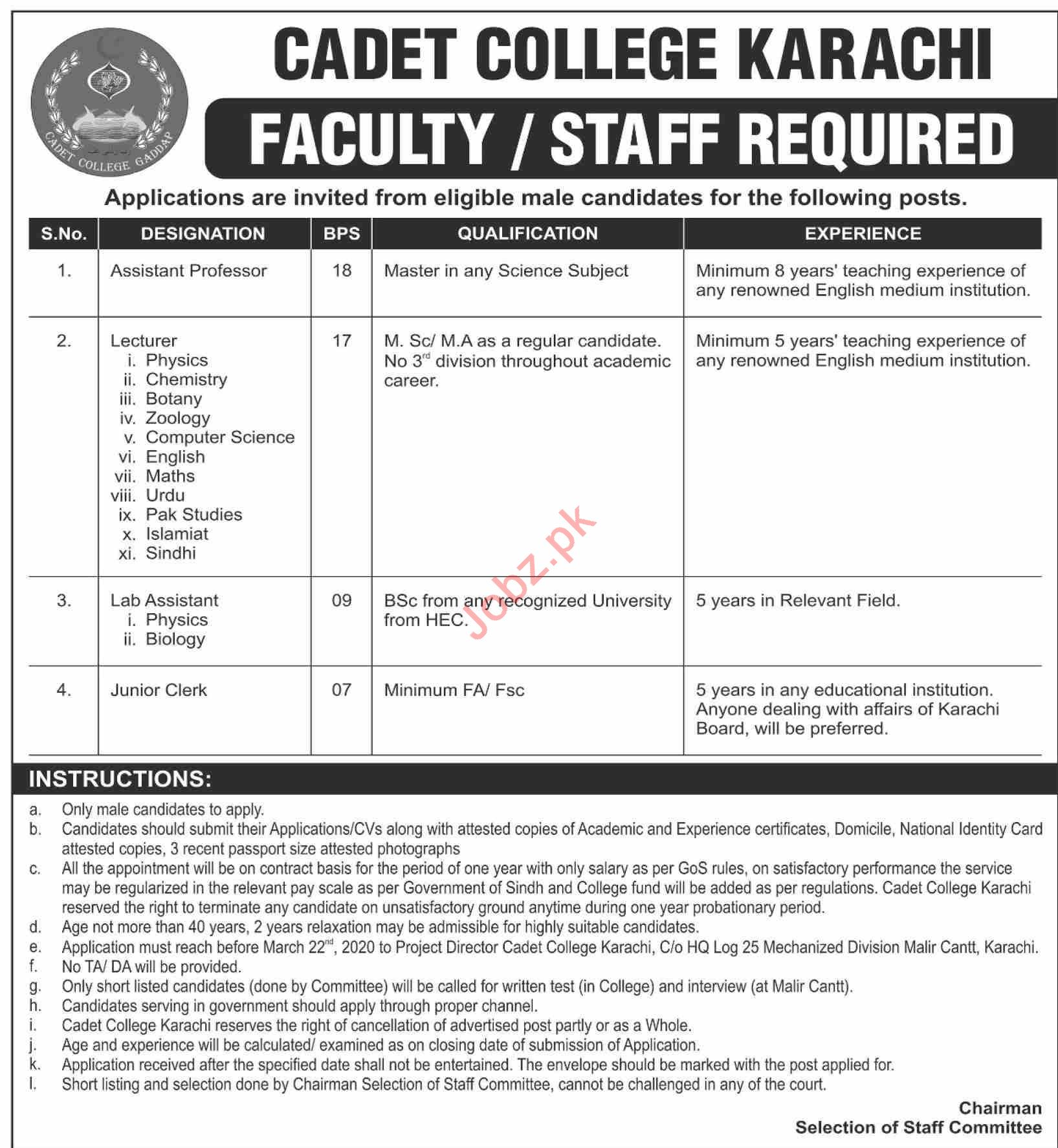 Cadet College Karachi Jobs 2020