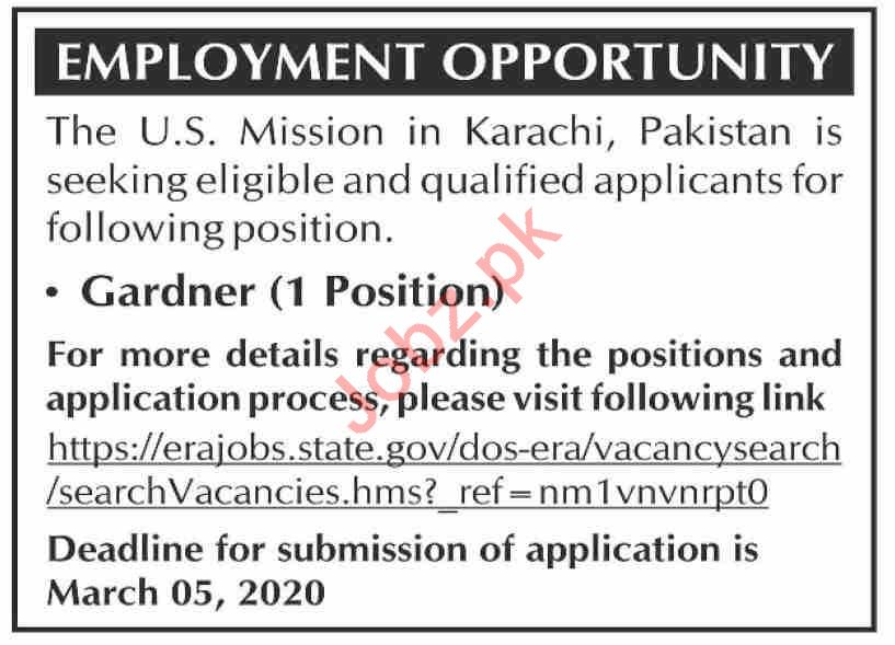 US Embassy Jobs 2020 in Karachi