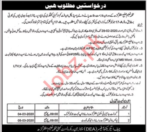 Education Department Muzzaffargarh Jobs 2020