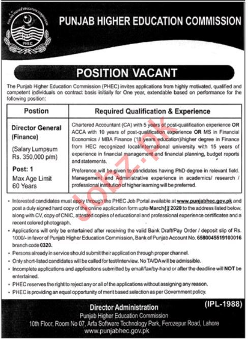 Punjab Higher Education Commission Jobs 2020 in Lahore