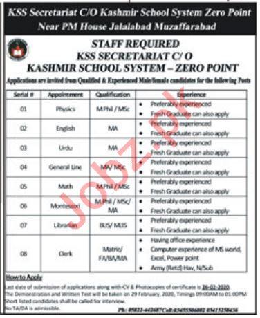 Kashmir School System KSS Teaching Staff Jobs 2020