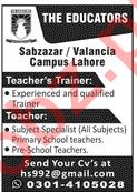 The Educators Sabzazar / Valancia Campus Jobs in Lahore