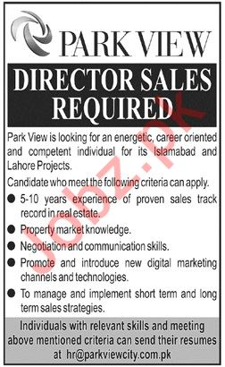 Park View City Jobs For Director Sales in Islamabad & Lahore
