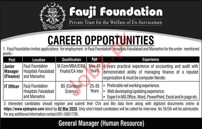 Fauji Foundation Private Trust Jobs 2020