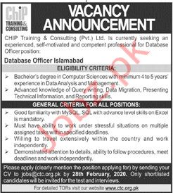 CHIP Training & Consulting Pvt Ltd Jobs in Islamabad