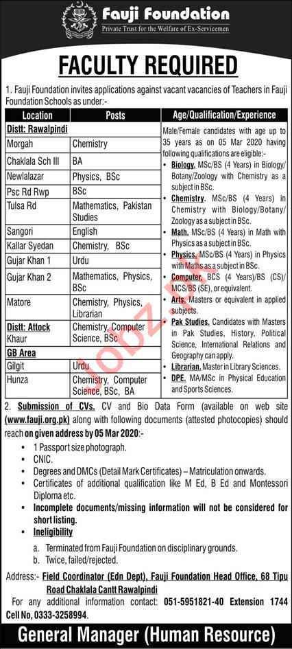 Fauji Foundation School Teaching Jobs 2020