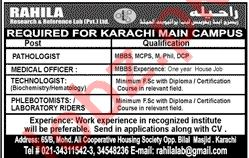 Rahila Research & Reference Lab Medical Jobs 2020 in Karachi