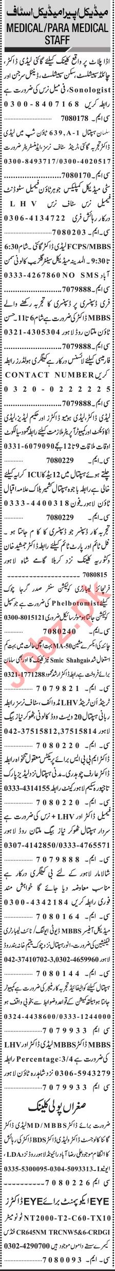 Jang Sunday Classified Ads 23rd Feb 2020 for Medical Staff