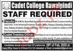 Cadet College Rawalpindi Jobs 2020