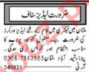 Ladies Factory Worker Jobs 2020 in Multan