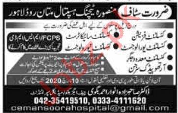 Mansoorah Teaching Hospital Jobs 2020 in Lahore