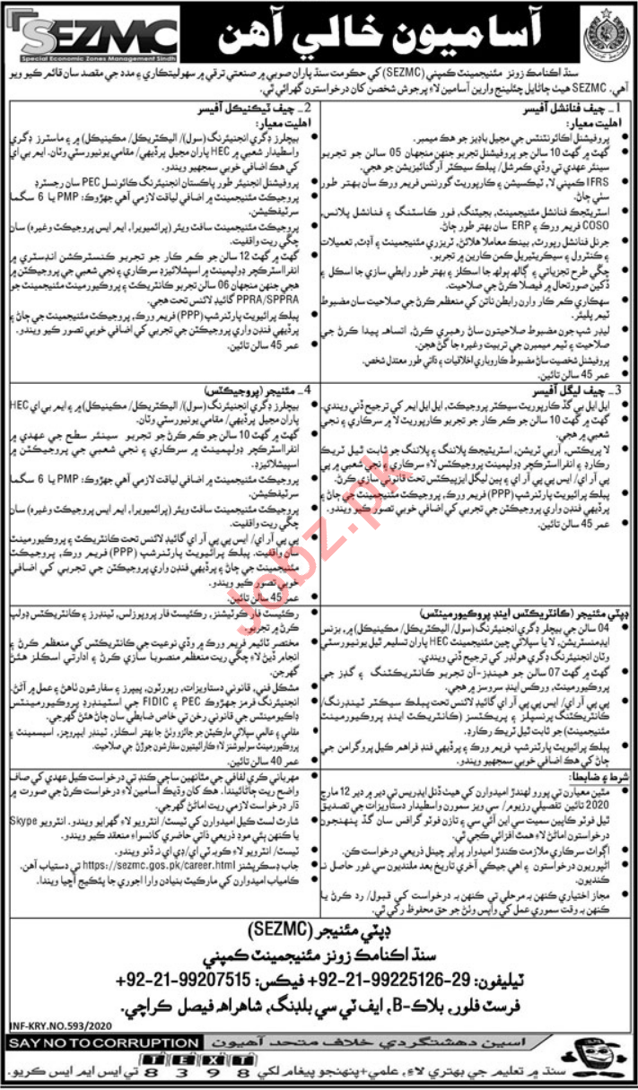 SZMC Management Jobs 2020 in Karachi