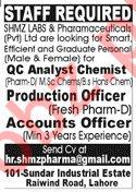 SHMZ Labs & Pharmaceuticals Pvt Ltd Jobs 2020 in Lahore