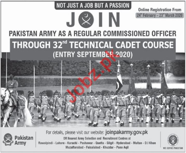 Pakistan Army Jobs 2020 via Technical Cadet Course