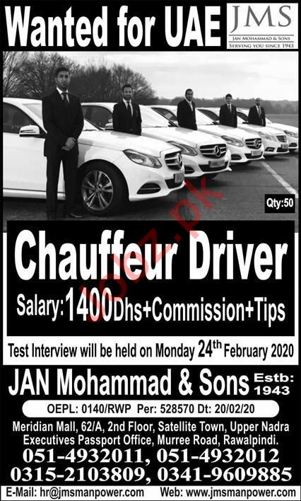 Chauffeur Driver Jobs 2020 in UAE