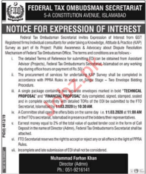 Federal Tax Ombudsman Secretariat Islamabad Jobs 2020