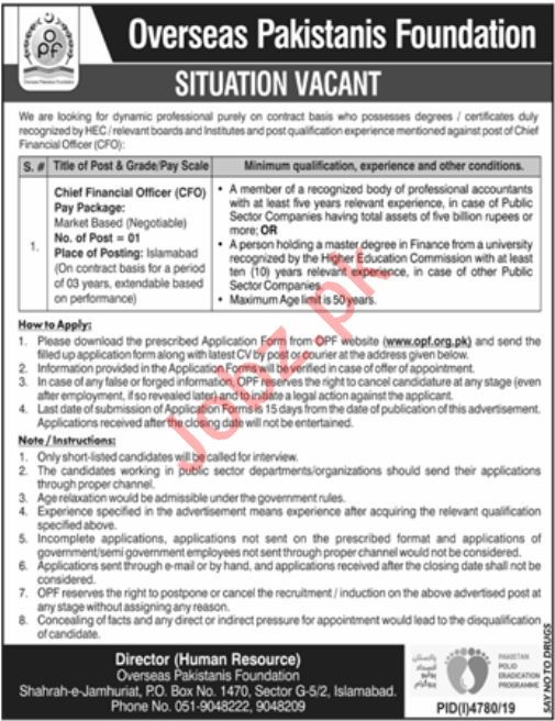 Overseas Pakistanis Foundation OPF Islamabad  Job for CFO