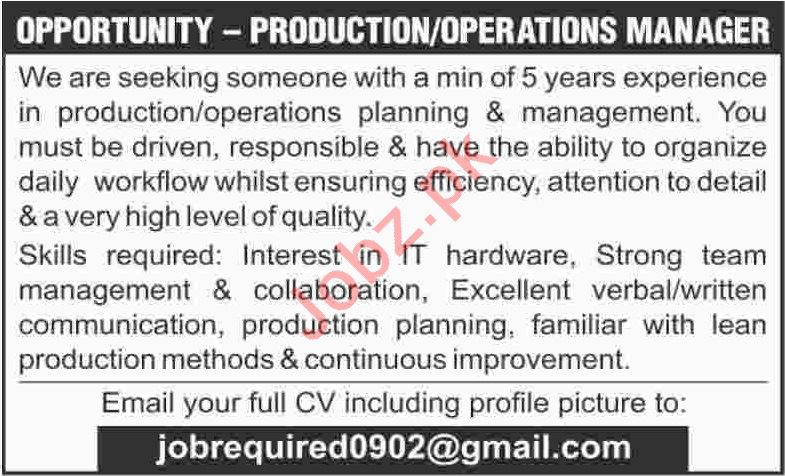 Production Manager & Operations Manager Jobs 2020