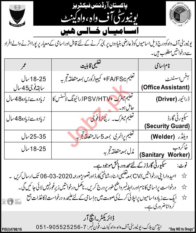 University of Wah Non Faculty Jobs 2020