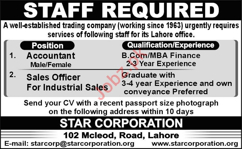 Accounts & Sales Officer Jobs in Trading Company