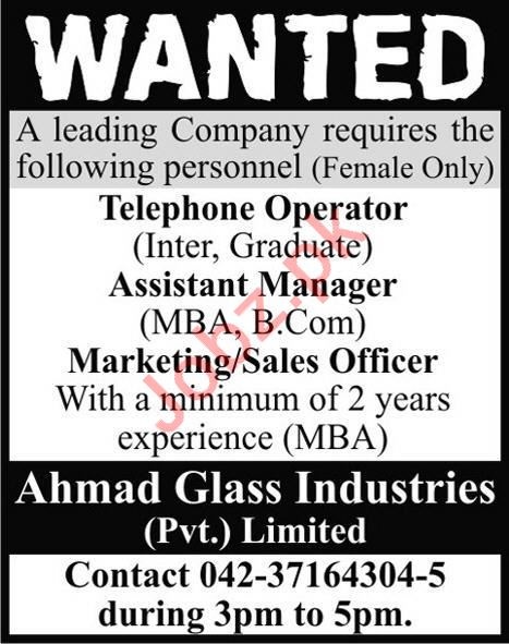 Management Jobs in Ahmad Glass Industries Private Limited