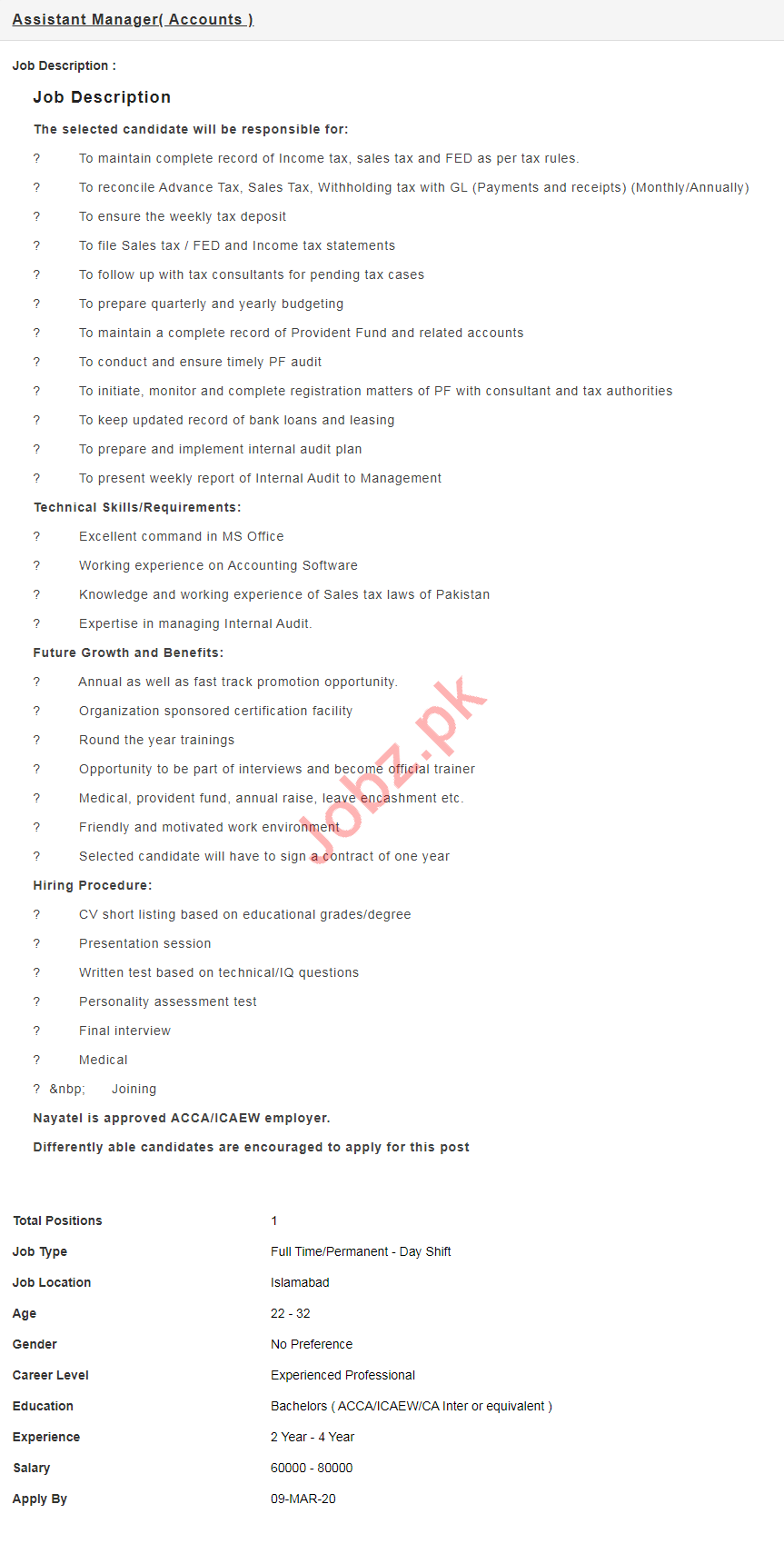 Nayatel Islamabad Jobs 2020 for Assistant Manager Accounts