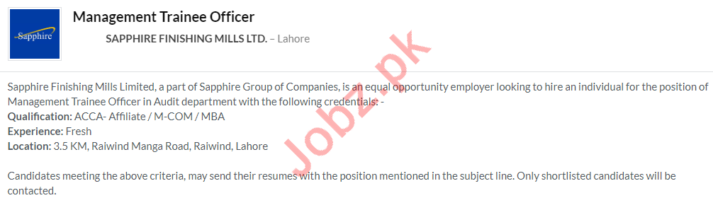 Sapphire Finishing Mills Lahore Jobs 2020